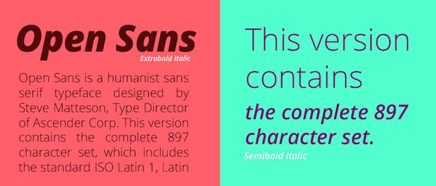 Open Sans, es una página Web simpática de Google Web Fonts