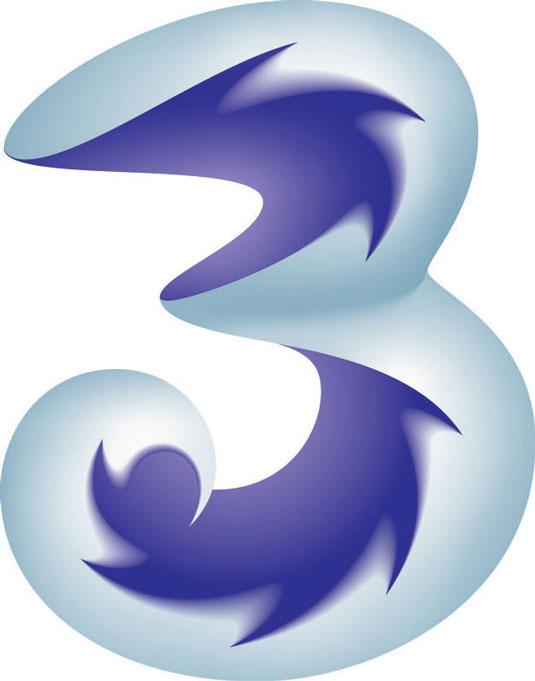 El logo de la empresa de telefonía móvil 3 es muy bonito, pero considera cuán fácil es transferir este logo a diferentes medio, tamaños, etcétera.